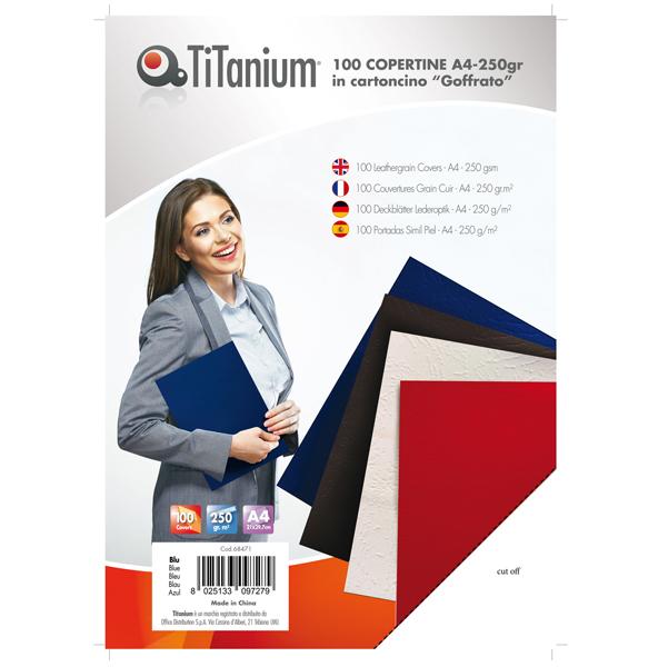Copertine rilegatura - A4 - 250 gr - cartoncino goffrato - blu - Titanium - scatola 100 pezzi