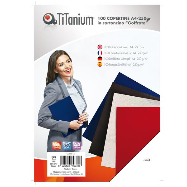 Copertine rilegatura - A4 - 250 gr - cartoncino goffrato - nero - Titanium - scatola 100 pezzi