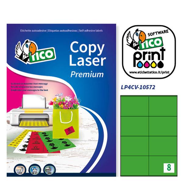 Etichetta adesiva LP4C - permanente - 105x72 mm - 8 etichette per foglio - verde opaco - Tico - conf. 70 fogli A4