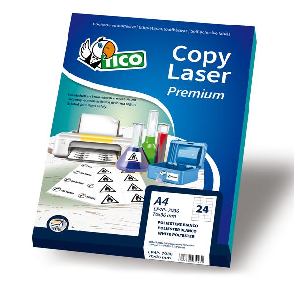 Etichetta in poliestere LP4P Tico - bianco - adatta a stampanti laser - 70x36 mm - 24 etichette per foglio - conf. 70 fogli A4