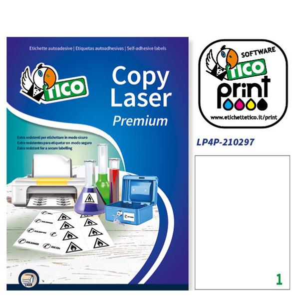 Poliestere adesivo lp4p bianco 70fg A4 210x297mm (1et/fg) laser tico