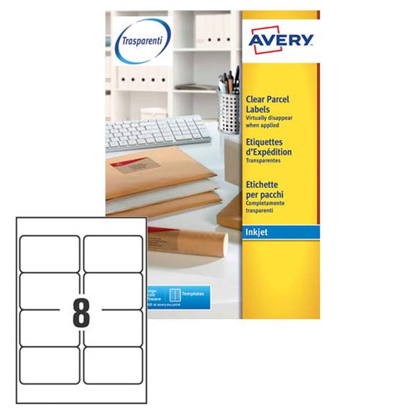 Etichette inkjet trasparenti j8565-25fg (14et/fg 99.1x67.7) quickpeel avery