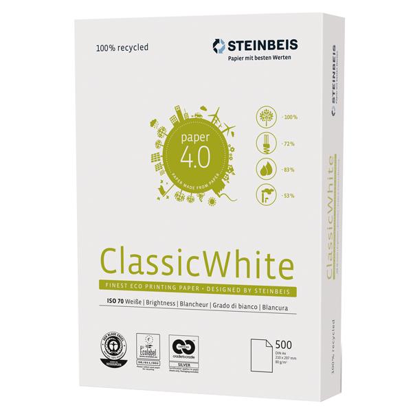 Carta riciclata al 100% senza legno - A3 - 80 gr - bianco - Steinbeis - conf. 500 fogli