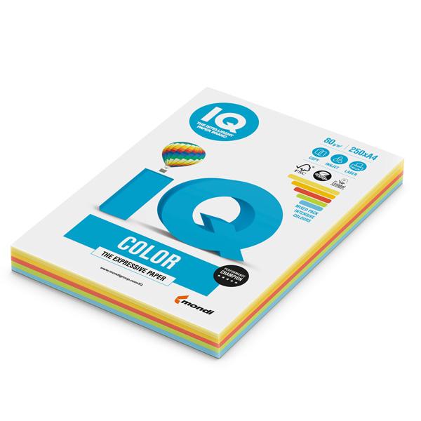 Carta IQ Color - A4 - 80 gr - mix 5 colori forti RB02 - Mondi - conf. 250 fogli