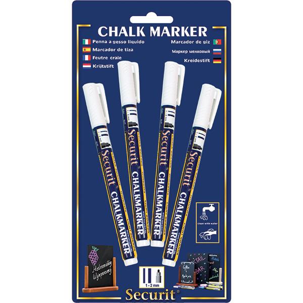 Marcatore a gesso liquido - punta fine da 1,00-2,00 mm - bianco - Securit - conf. 4 pezzi