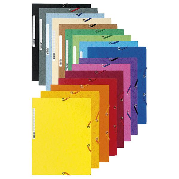 Cartellina con elastico - cartoncino lustrè - 3 lembi - 400 gr - 24x32 cm - grigio - Exacompta