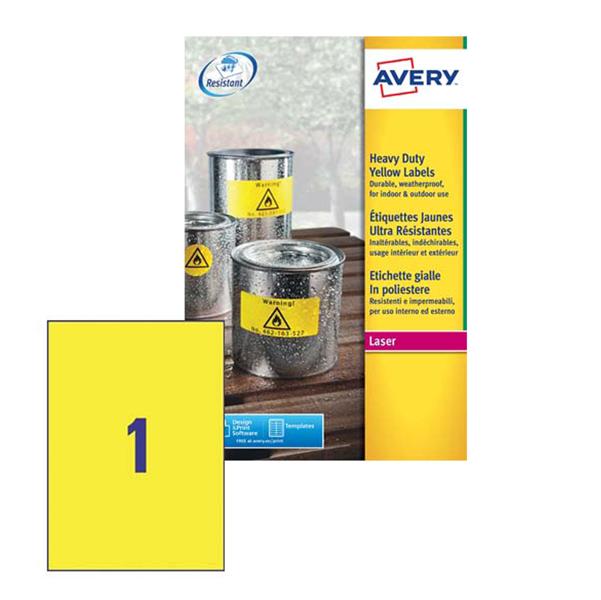 Poliestere adesivo l6111 giallo fluo 20fg A4 210x297mm (1et/fg) laser avery
