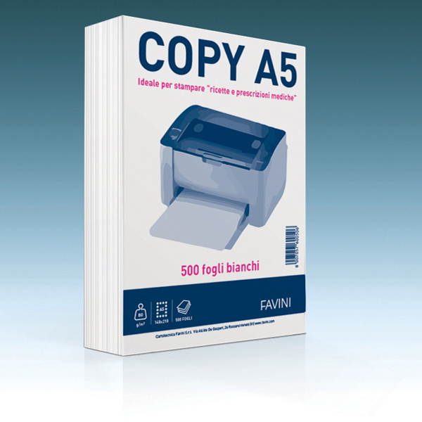 Carta Copy - A5 -148 x 210mm - 80gr - bianco - Favini - conf. 500fg