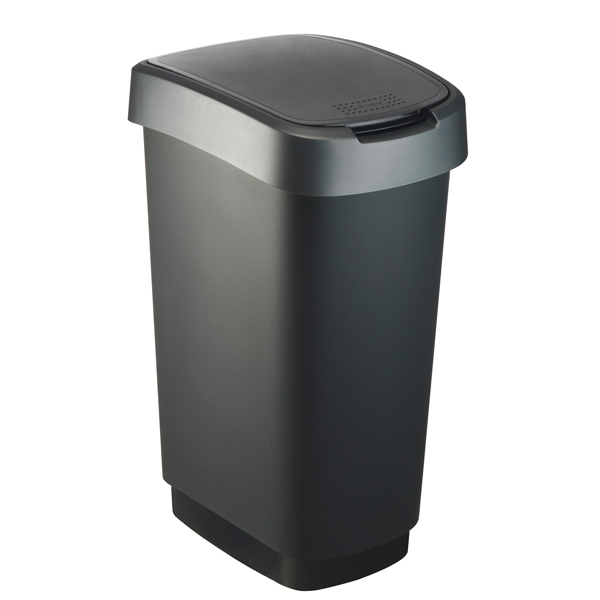 Pattumiera con coperchio basculante - 40,1x29,1x60,2 cm - PPL - 50 L - nero/grigio - Rotho