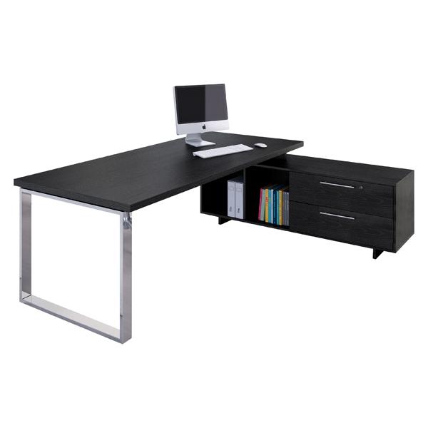 Scrivania Manager Prestige Metal - 210x90cm - con mobile servizio reversibile - nero venato - Artexport