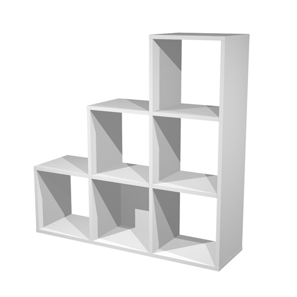 Libreria casellario Rainbow - 6 caselle a scalare - 104x29,2cm - H103,9cm - grigio alluminio - Artexport