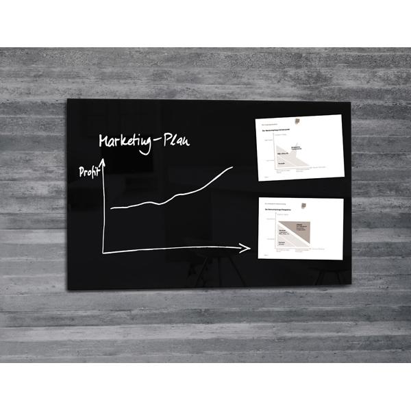 Lavagna magnetica in vetro artverum® - 65x100 cm - nero - Sigel