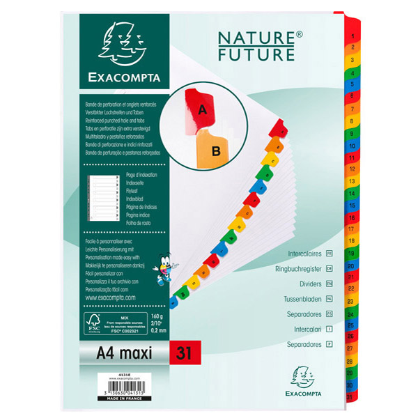 Separatore numerico 1/31 - cartoncino bianco 160 gr - tasti colorati - A4 maxi - Exacompta