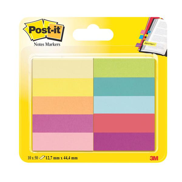 Segnapagina Post it® in carta - 12,7x44 mm - 10 colori assortiti - Post it® - conf. 500 pezzi