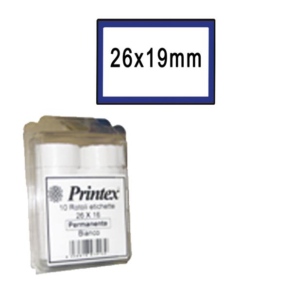 Rotolo da 600 etichette per Printex Z 17 - 26x19 mm - adesivo permanente - bianco - cornice blu - Pack 10 rotoli