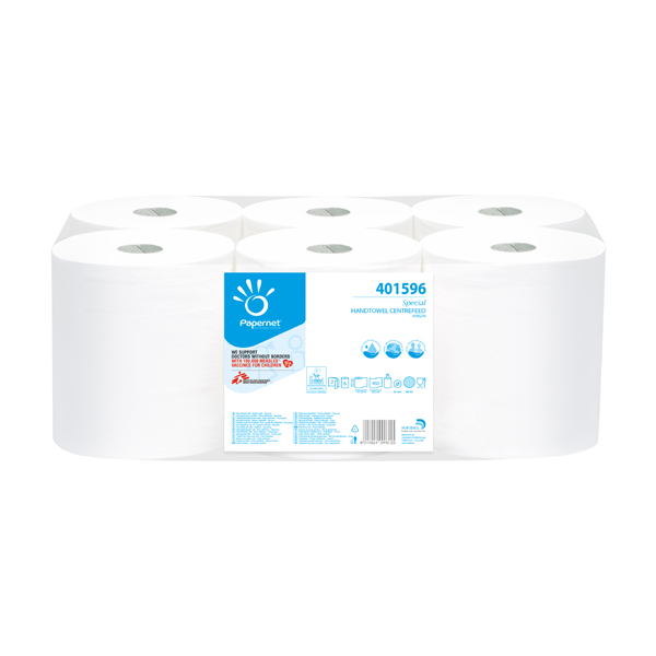 Asciugamani in rotolo Centrefeed - Maxi - 2 veli - 18 gr - 19,7 cm x 137 mt - diametro 19,3 cm - bianco - Papernet