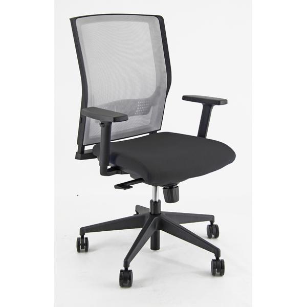 Poltrona semidirezionale X2 - con ruote e braccioli - schienale rete grigia/seduta nero - Unisit