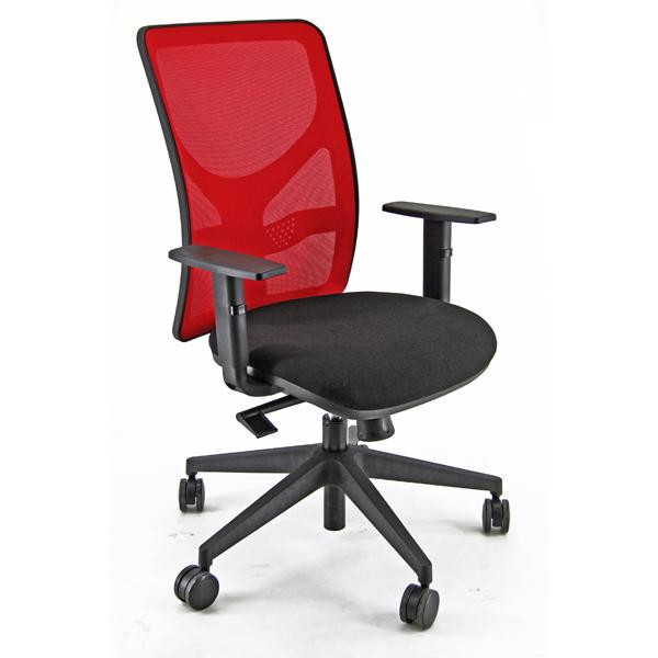 Sedia operativa PNA - con ruote e braccioli - schienale in rete rosso/seduta nero - Unisit