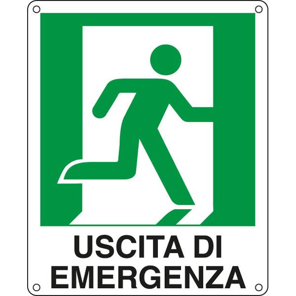 Cartello segnalatore -  25x31 cm - USCITA DI EMERGENZA (destra) - alluminio - Cartelli Segnalatori