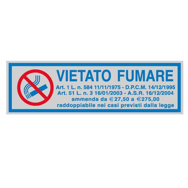 Targhetta adesiva - VIETATO FUMARE (con normativa) - 165x50 mm - Cartelli Segnalatori