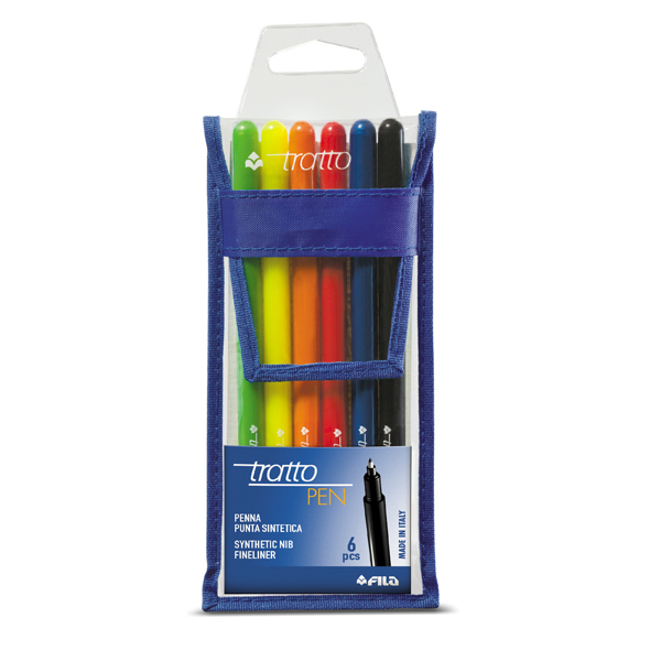 Pennarello fineliner Tratto Pen - tratto 0,5mm - colori assortiti - Tratto - busta 6 pennarelli