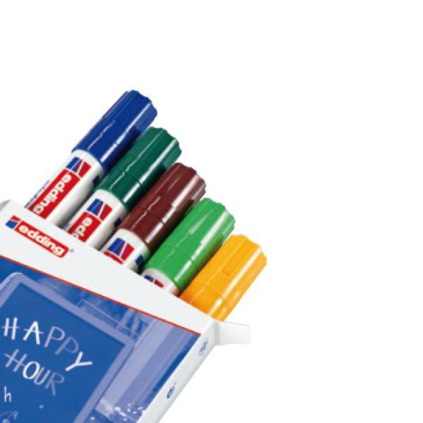 Marcatore a gesso liquido 4090 - 5 colori assortiti - punta conica da 2,0 a 3,0mm - Edding - astuccio 5 marcatori