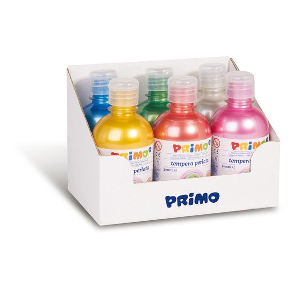 Tempera brillante perlata - 300ml - colori perlati assortiti - Primo - box 6 colori