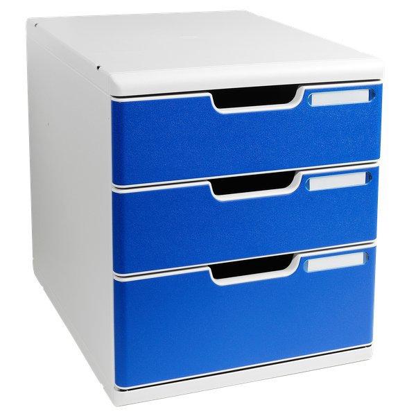 Cassettiera modulo a4 exacompta grigio chiaro blu 2 1 for Cassettiere ufficio