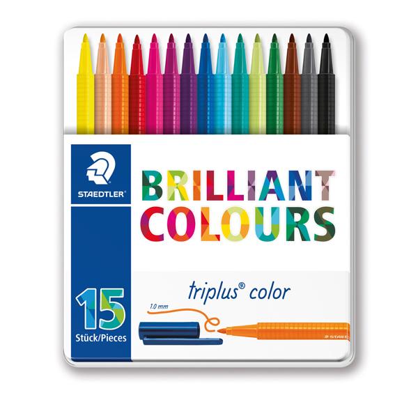 Triplus Pennarelli Brilliant Colours punta feltro - tratto 1,00mm - astuccio in metallo da 15 colori - Staedtler