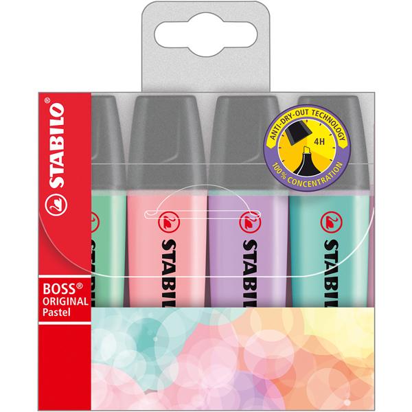 Evidenziatore Boss Original Pastel - 4 colori assortiti - tratto da 2 a 5mm - Stabilo - astuccio 4 evidenziatori