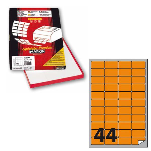 Etichetta adesiva A406 - permanente - 47,5x25,5 mm - 44 etichette per foglio - arancio fluo - Markin - scatola 100 fogli A4