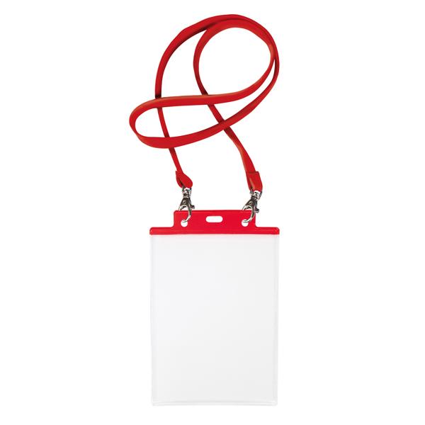 10 portanome pass 7st-m 15x21cm (A5) rosso con cordoncino rosso