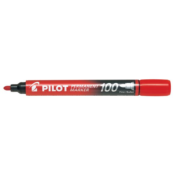 Marcatore Permanente Markers 100 - punta tonda 4,50mm - rosso - Pilot