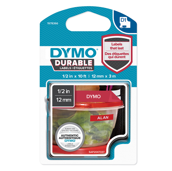 Nastro D1 Durable 1978366 - 12 mm x 3 mt - bianco/rosso - Dymo