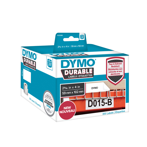 Rotolo 300 etichette LW Durable Industrial - 1933088 - 59x102mm - carta bianca - Dymo
