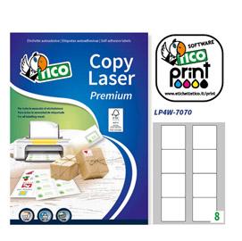Etichetta adesiva LP4W - permanente - 70x70 mm - 8 etichette per foglio - bianco - Tico - conf. 100 fogli A4