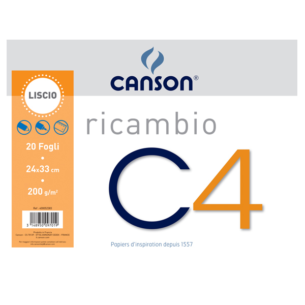 Ricambi per album C4 - 240x330mm - 20fg - 200gr - liscio - Canson