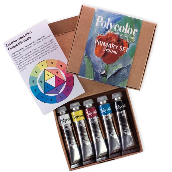 Scatola 5 colori vinilici Polycolor Primary - 20ml - colori primari - Maimeri