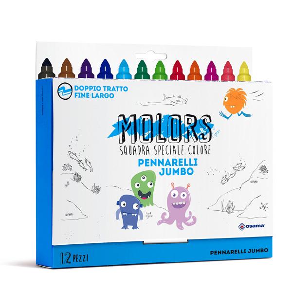 Astuccio 12 pennarelli Molors jumbo - colori assortiti - Osama