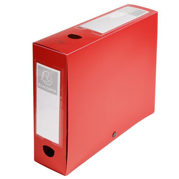 Scatola per archivio box - con bottone - 25x33 cm - dorso 8 cm - rosso - Exacompta