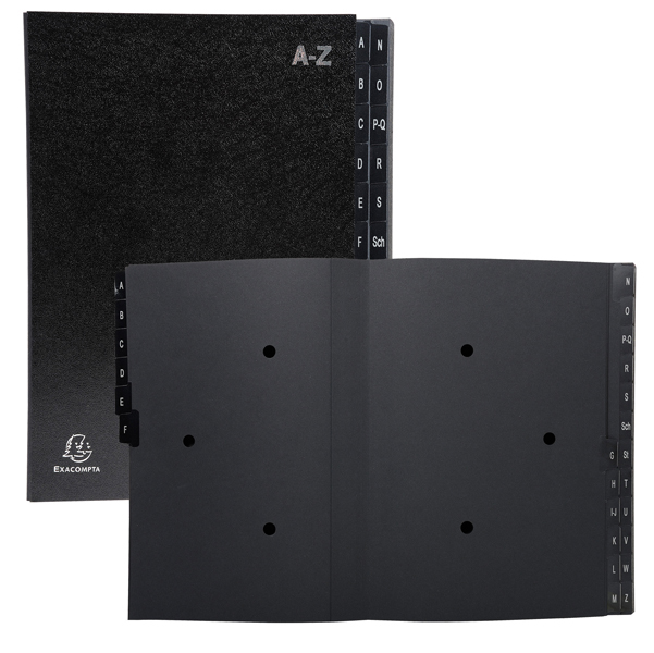 Classificatore alfabetico A/Z Ordonator - 25x33 cm - nero - Exacompta