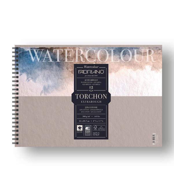 Blocco Watercolour Torchon - 21x29,7cm - 12 fogli - 300gr - spiralato - Fabriano
