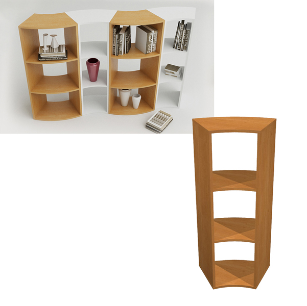 Libreria Angolare.1pz Libreria Angolare Rainbow 45 Gradi L274 498xp397xh1039 Noce Chiaro Artexport