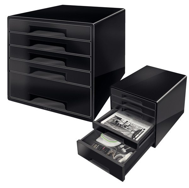 Cassettiera WOW Cube Black&White - 5 cassetti - nero - Leitz