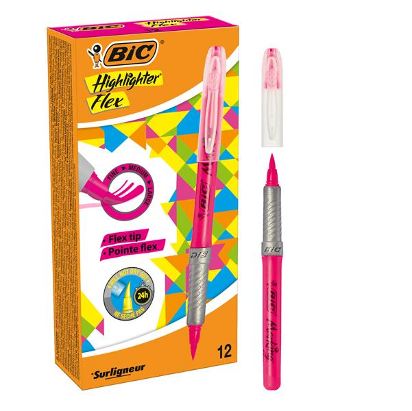 Evidenziatore Flex - rosa - Bic - conf. 12 pezzi