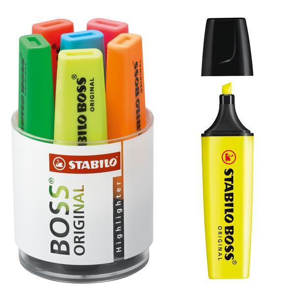 Evidenziatore Boss Original  - punta a scalpello - tratto da 2,0-5,0mm - cilindro 6 colori assortiti - Stabilo