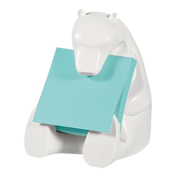 Dispenser orso bianco + ricarica Post it® Super Sticky Z Notes azzurro - 76 x 76mm - 90 fogli - Post it®