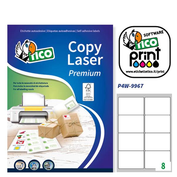 Etichetta adesiva LP4W - permanente - 99,1x67,7 mm - 8 etichette per foglio - bianco - Tico - conf. 100 fogli A4