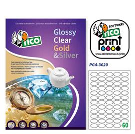 Etichetta adesiva PG4 Tico - bianco lucida - 36x22 mm - 55 etichette per foglio - conf. 100 fogli A4