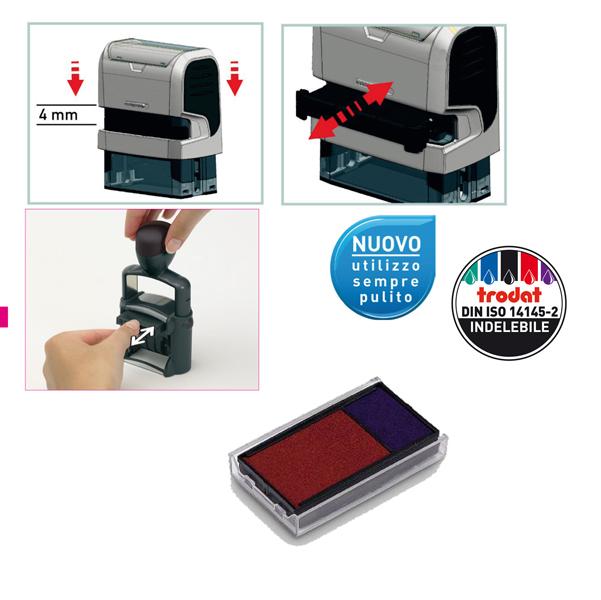 Tampone di ricambio Trodat 6/4912/2 - blu/rosso - blister da 3 pezzi